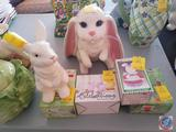 Ceramic Bunny with Cracked Ear, Large Ceramic Floppy Eared Bunny, Set of Bunny Candle Holders(Spring
