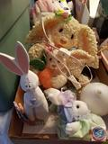 Bunny Lamp, Hand Painted Glass Egg, GKR Easter Pitcher, Small Stuffed Bunny and Bunny with Basket,