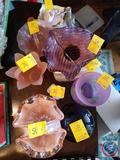 Pink Crystal Candy Dish, Pink Tulip Frosted Glass Vase, Leaf Candy Dish, Lotion Dispenser and More