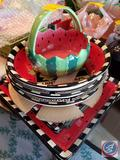(2) Watermelon Platters, Watermelon Bowl, Watermelon Plates and Watermelon Baskets