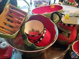Watermelon Pitcher, Watermelon Wedge Serving Tray, (3) Watermelon Bowls, Watermelon Tray with