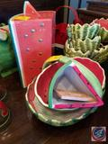 Watermelon Basket and Watermelon Bowl, Small Watermelon Platter, Dept. 56 Watermelon Cookie Jar