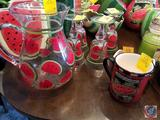 Glass Watermelon Pitcher with 4 Matching Glasses, Watermelon Coffee Much and Watermelon Decoration