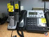 SynJ AT&T Office Phone System (Model SB67138) and (3) AT&T Hand Sets with Charging Stations