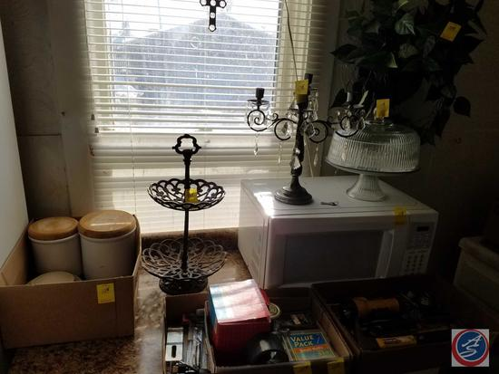 Glass Cake Stand With Lid, Candelabra, Kenmore Microwave (Model 721.66222500), Fruit Stand, Assorted