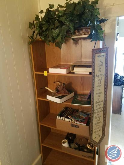 "Book Case Measuring 29.5""X 71""X 11.5"" Containing Animal Science, Gardening Essentials, Candy Dish,"