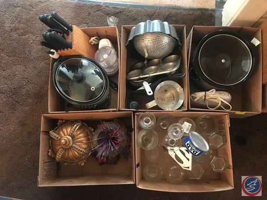 Collander, Bundt Cake Pan, Skillet, Glassware, Crock Pot and Iron, Incense, Ornate Candy Dish with