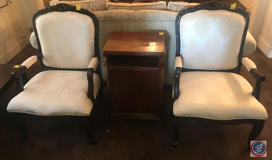 (2) Vintage Look Setting Chairs and Vintage Side Table