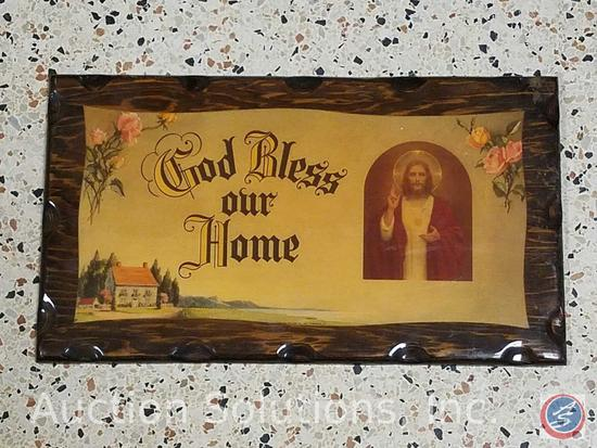 [7] Pieces of Artwork Including: Wood Plaques and Framed Religious Artwork Including God Bless Our