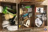 Assorted Kitchen Utensils Including a Grater, Quik Chop, Ladle and More