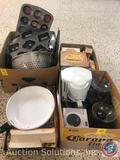 Muffin Pans, Colander, Coffee Pot, Electric Grinder, Rolling Cutter and Tenderizer and More