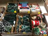 Small Christmas Trees, Assorted Holiday Ornaments, Santa Claus and Snowman Figurines and More