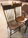 (2) Vintage Wooden Kitchen Chairs Measuring: Both chairs are 38
