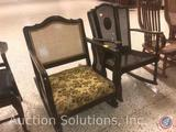 (3) Vintage Rocking Chairs Measuring: Floral Seat Chair 33