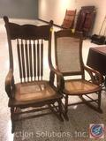 (2) Vintage Rocking Chairs {{SOME DAMAGE IS APPARENT IN ONE OF THE CHAIRS}} Measuring: 41