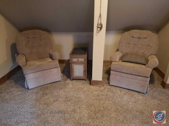 "(2) Swiveling, Rocking Upholstered Chairs 40"" , Side Table with Drawer and Cupboard 14"" x 24"" x 23"