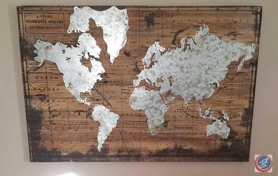 "World Map Wall Hanging 36"" x 24"" Giraffe and Elephant Center Piece"