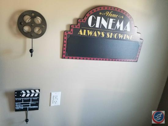 Framed Movie Quotes Poster, Movie Reel Hook, Auction Hanging, Cinema Wall Sign, Garbage Can, Toilet