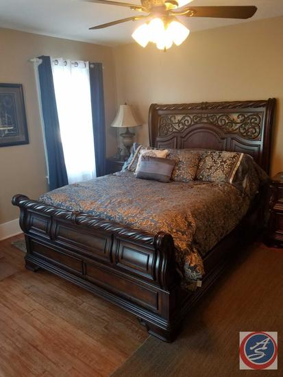 "Liberty Furniture Queen Sleigh Bed with Headboard 62"" and Footboard, Frame, Comforter, Pillows"
