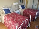 (2) Twin Beds Frames {{COMFORTER AND PILLOWS INCLUDED; SHEETS, BOXSPRINGS AND MATTRESSES NOT