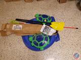 Squeegee Handle with Attachment, (2) Polaris Turtles, (2) Kayak Paddles, Air Pump, Floatation Device