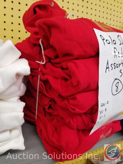(8) Red Polo Shirts Assorted Sizes