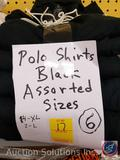 (6) Black Polo Shirts in Assorted Sizes