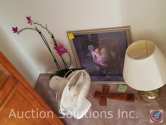 "Framed Print Measuring 22""X 18"", Wooden Cross, Faux Flowering Orchid, Lamp with Shade,"