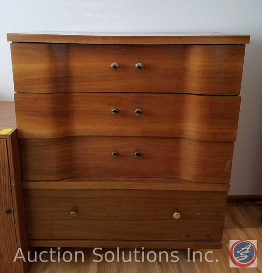 "4 Drawer Wood Dresser Measuring 35.5""X 18""X 43"""