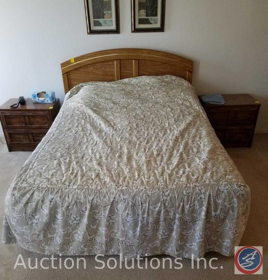 Simmons Full Sized Bed Frame, Box Spring, Mattress and Bedding