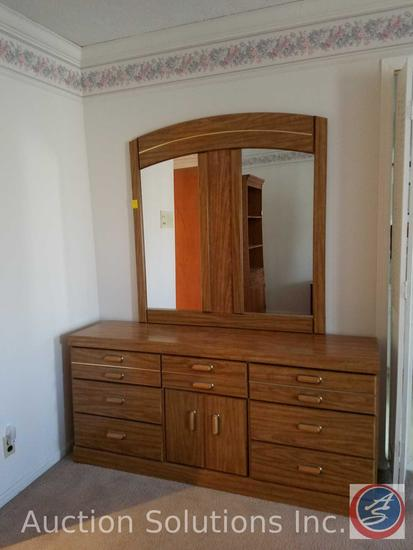 "Vanity Dresser with Mirror Measuring 65""X16""X 74"""
