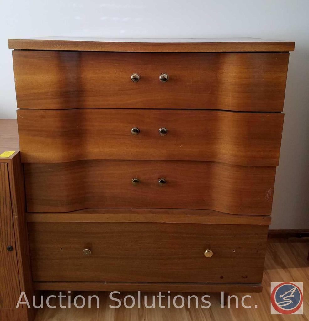 "4 Drawer Wood Dresser Measuring 35.5""X 18""X 43"""