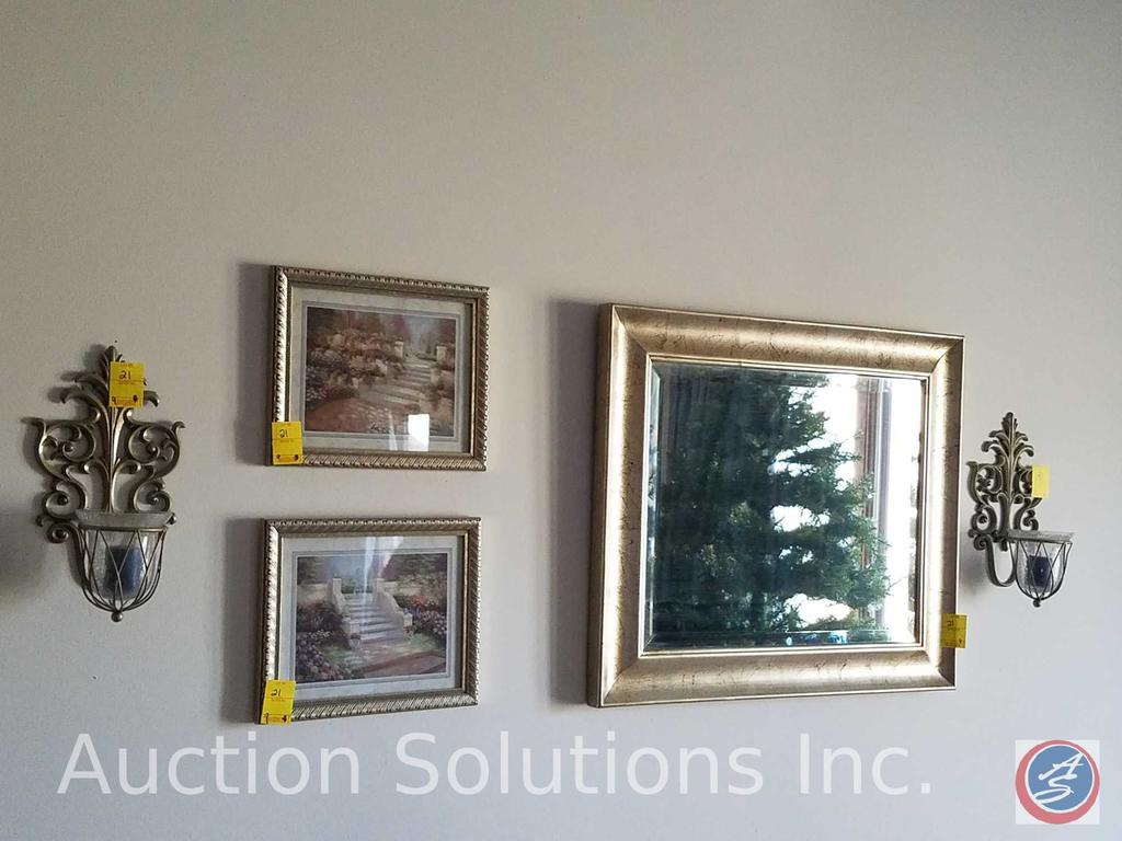 """Mirror Measuring 26""""X 21.5"""" , (2) 8""""X 12"""" Framed Prints, Wall Hanging Sconces, (3) 5""""X 7"""" Picture"""