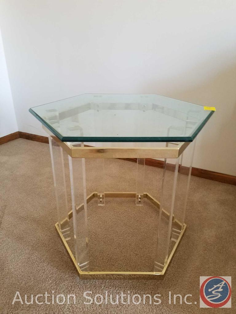 "Glass End Table Measuring 22""X 22"", Glass Sofa Table Measuring 16""X 52.5""X 27"", 24 Series Seasons"