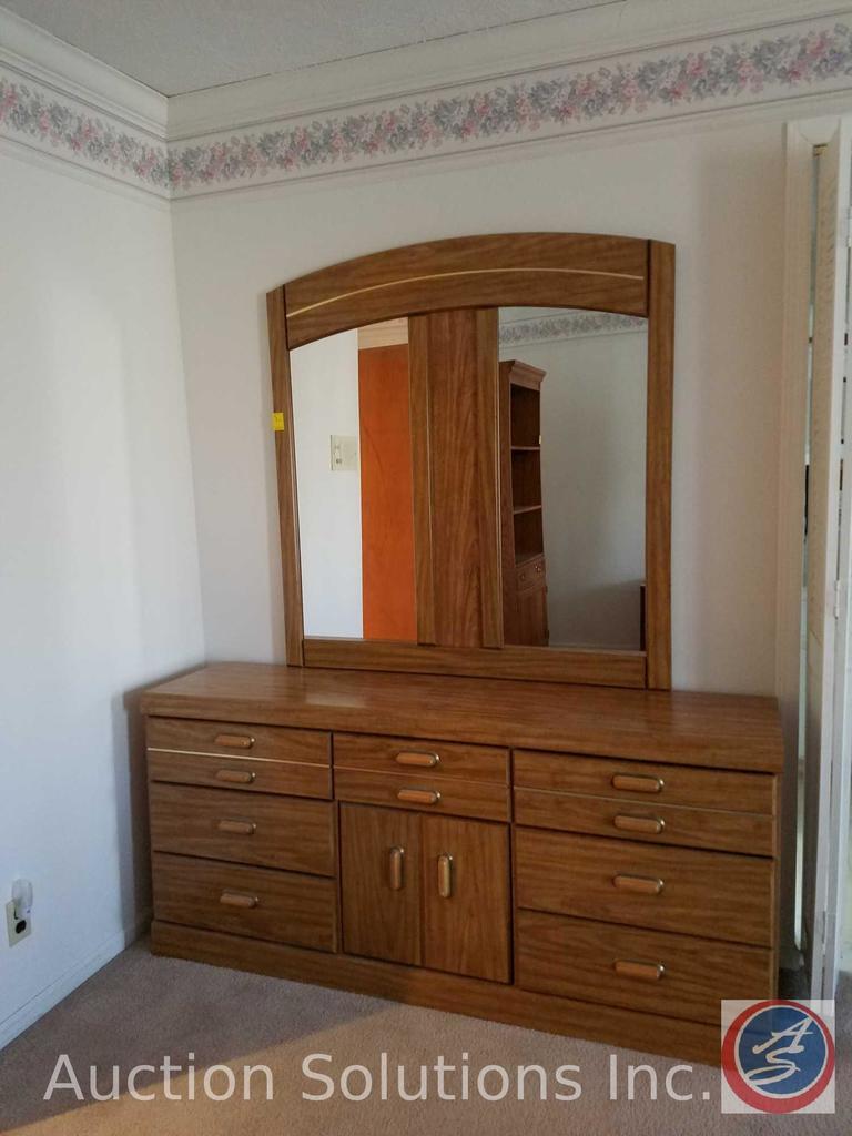 "Vanity Dresser with Mirror Measuring 65""X16""X 74"""