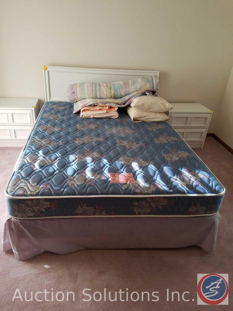 Full Size Headboard, Box Spring, Imperial 400 Mattress, Bedding [[NO BED RAILS]]