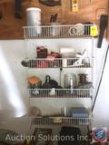 4 Rack Hanging Shelving Unit Including Sylvania Bulbs, Straight Line Chalk Line Reel, Timer, Coaxial
