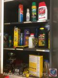 Contents of Cabinet Including Weed Killer, Bug Spray, Crescent Wrenches, Combination Wrenches,