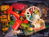 Large Lot of Vintage Fisher Price Toys: Music Box Ferris Wheel (Still Functioning), Bag of Animals,