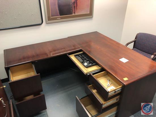 """L Shaped Desk Measuring 66"""" x 29"""" x 29"""" and 77"""" x 23"""" x 29"""" {{DESK ONLY}}"""