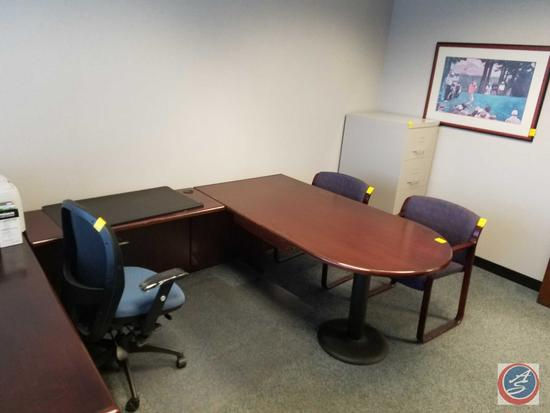 Steelcase U-Shaped Wood Desk w/5 Drawers and 2 Drawer Lateral File Cabinet Measuring: