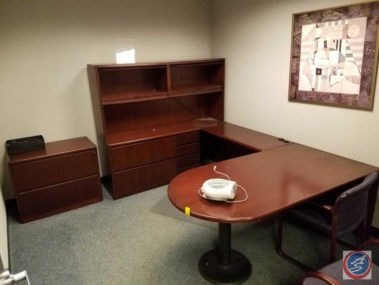Steelcase U-Shaped Wood Desk w/5 Drawers and Lighted Credenza with Overhead Storage Compartments