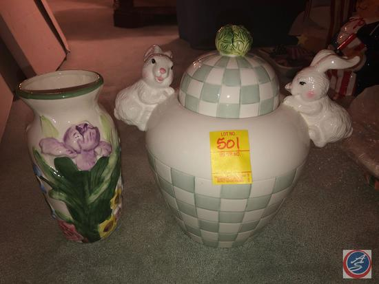 Floral Vase, White and Gray Bunny Cookie Jar Marked CBK LTD 1999