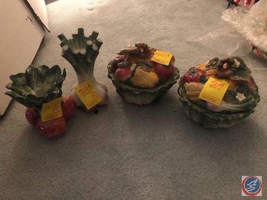 (2) Vegetable Fitz and Floyd Candy Dishes and (2) Vegetable Candle Holders