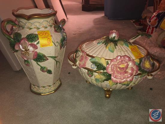 Fitz and Floyd Floral Punch Bowl and Large Fitz and Floyd Vase