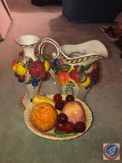 Fitz and Floyd Pitcher with Fruit Design, Fitz and Floyd Candle Stick with Fruit Design and Fruit