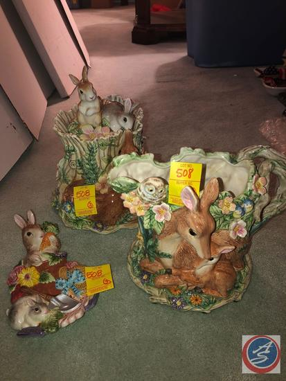 Fitz and Floyd Mom and Baby Deer Forest Pitcher and Fitz and Floyd Forest Design Cookie Jar and