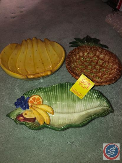Fitz and Floyd Pineapple Dish, Fitz and Floyd Banana Dish and Fitz and Floyd Lettuce Leaf Dish and