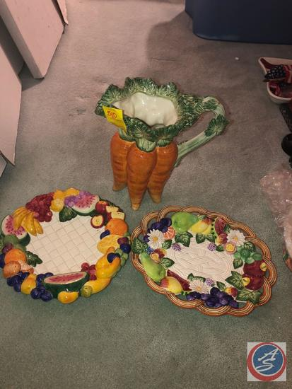 (2) Fitz and Floyd Classic Serving Trays and Carrot Pitcher