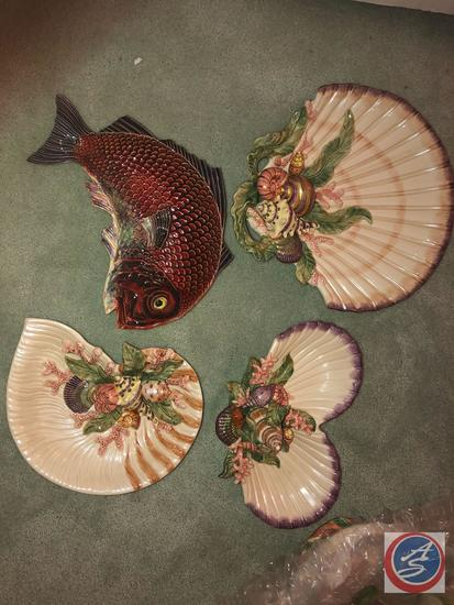 Fitz and Floyd Fish Tray, (3) Fitz and Floyd Sea Shell Trays and Fitz and Floyd Sea Shell Dish with